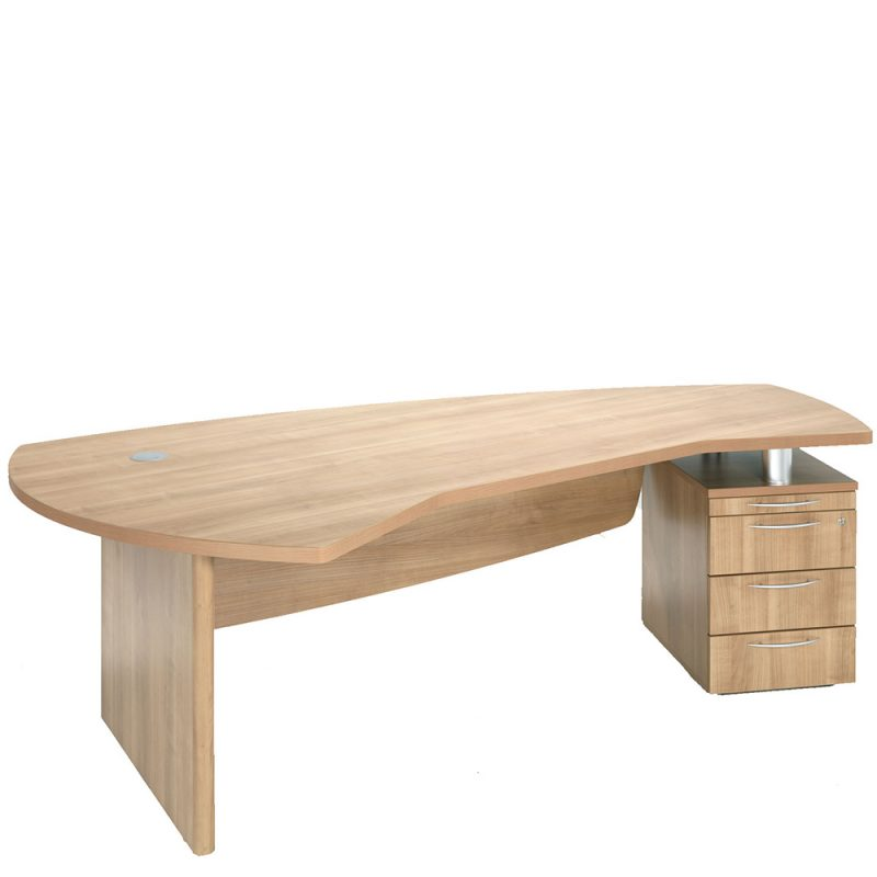 Wooden desk with built-in storage drawers