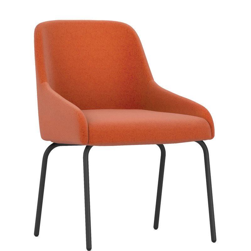 Orange padded chair with black legs
