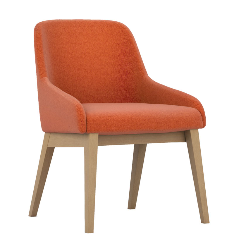 Orange padded chair with wooden legs