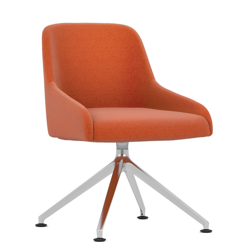 Orange padded chair with chrome base