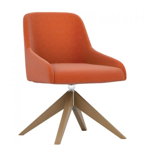 Orange padded swivel chair with wooden base