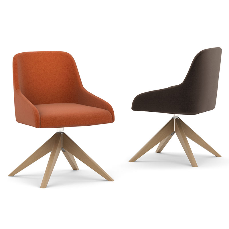Flow chair with wooden four star base