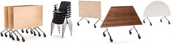 Folding modular tables on wheels
