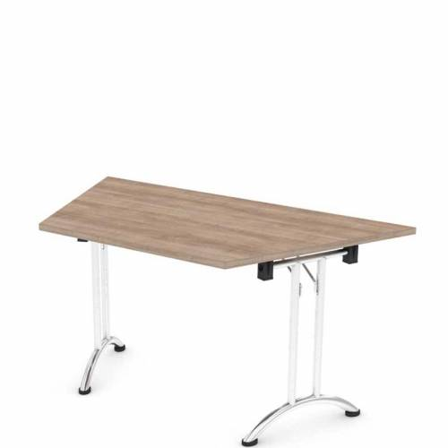 Folding trapezoidal table
