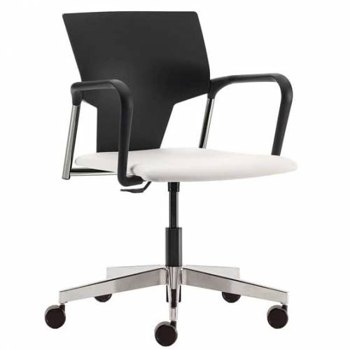 Wheeled chair with white seat and black back