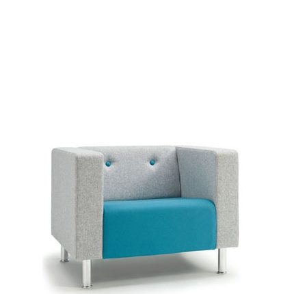 Armchair with blue seat and grey sides