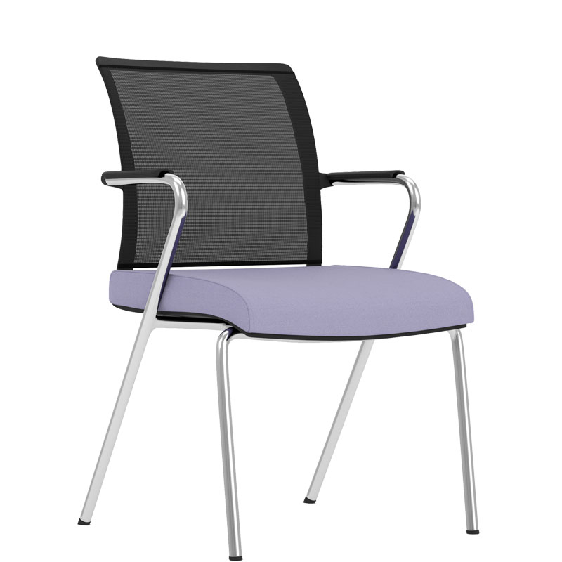 Office chair with lilac seat, black mesh back and chrome arms and legs