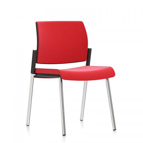 Red meeting chair with chrome legs