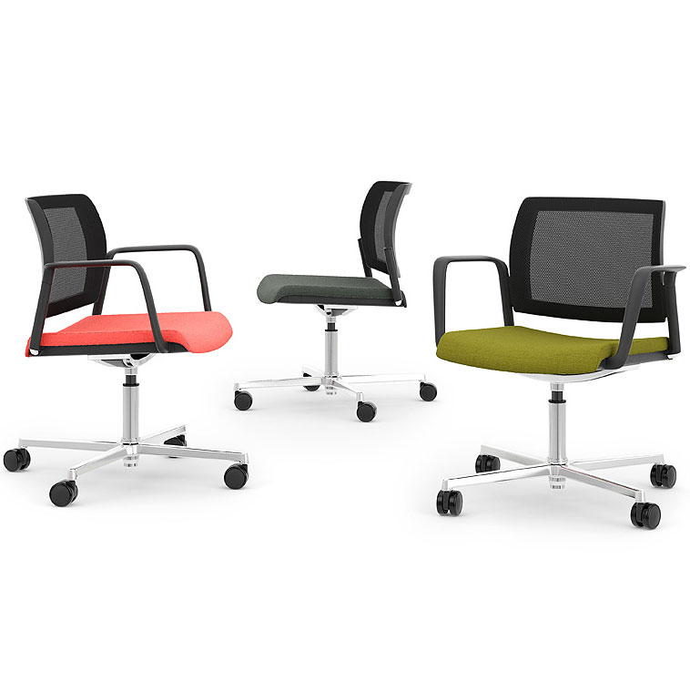 Three swivel chairs with different coloured seats, all with black mesh back