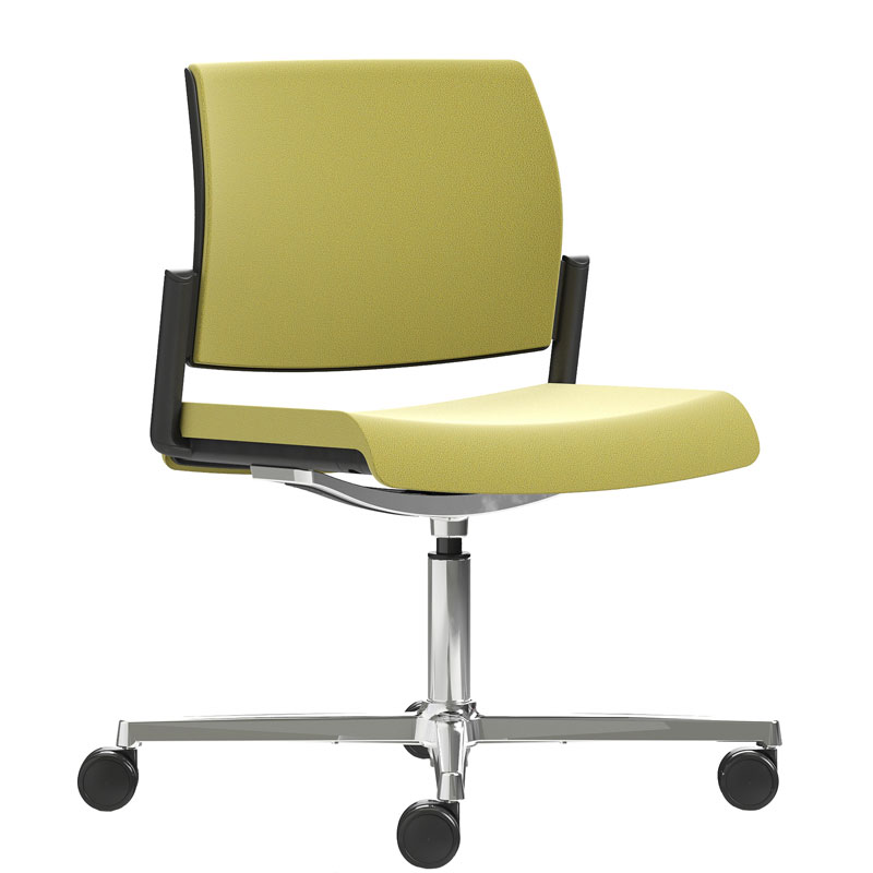 Swivel chair with pale green seat and back, and chrome base