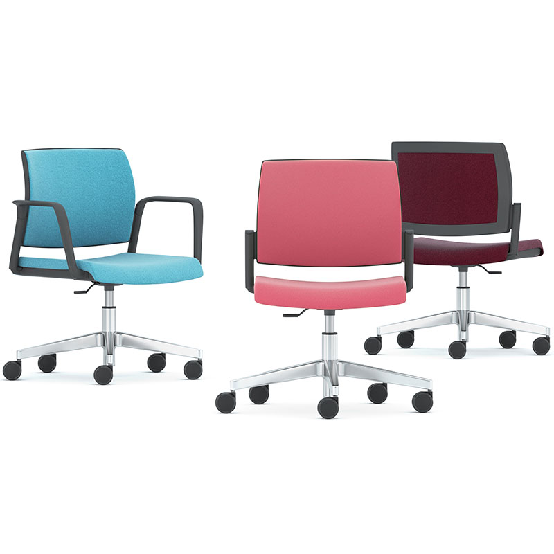 Three swivel chairs - one blue, one pink, one maroon