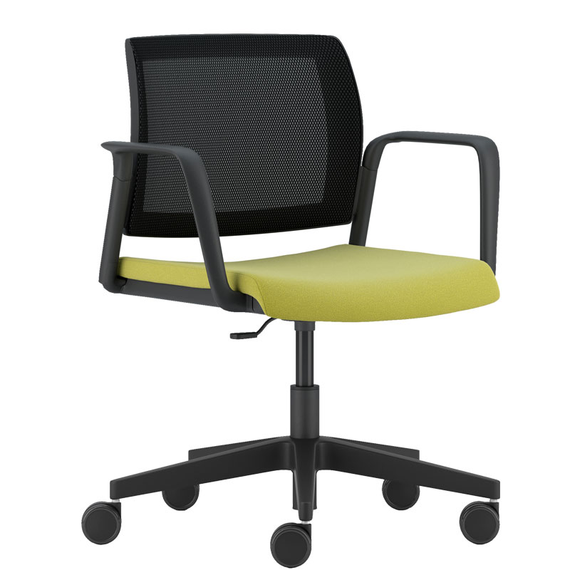 Swivel chair with pale green seat, black mesh back and black arms