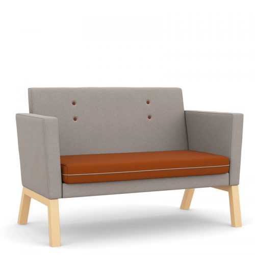 Sofa with orange seat and grey back and sides