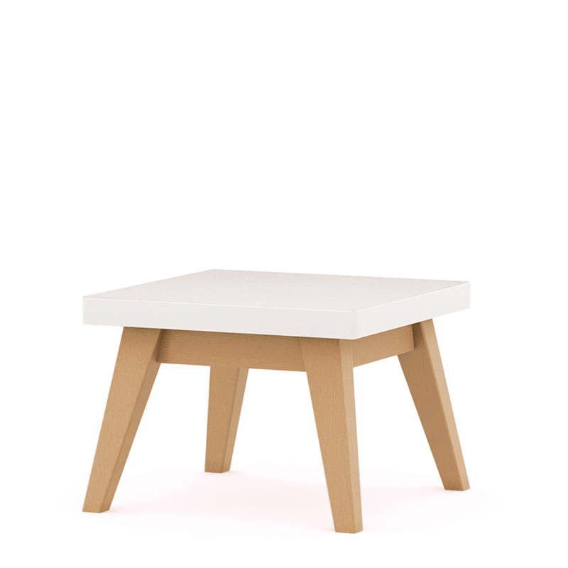 Square table with white top and wooden legs