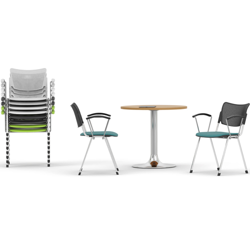 Two chairs and a coffee table, with a stack of chairs on the left