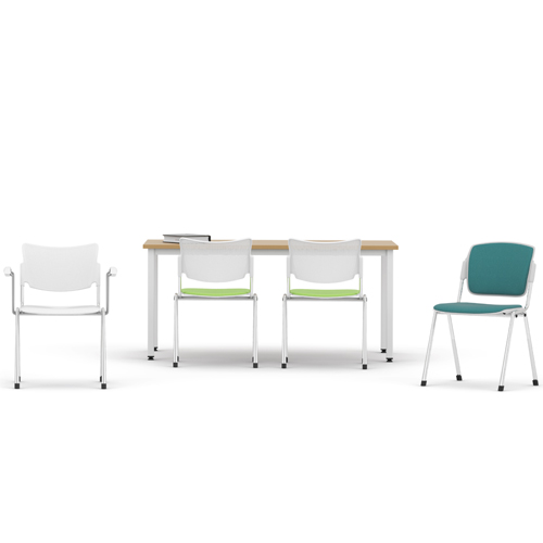 Four meeting chairs and a wooden desk