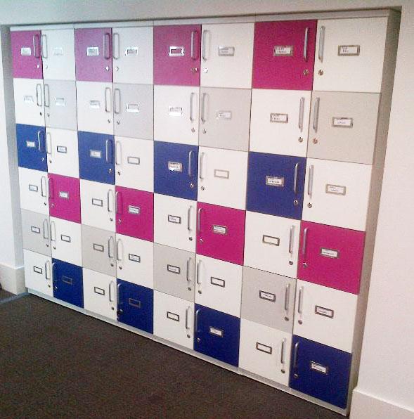 Multi coloured wooden storage lockers