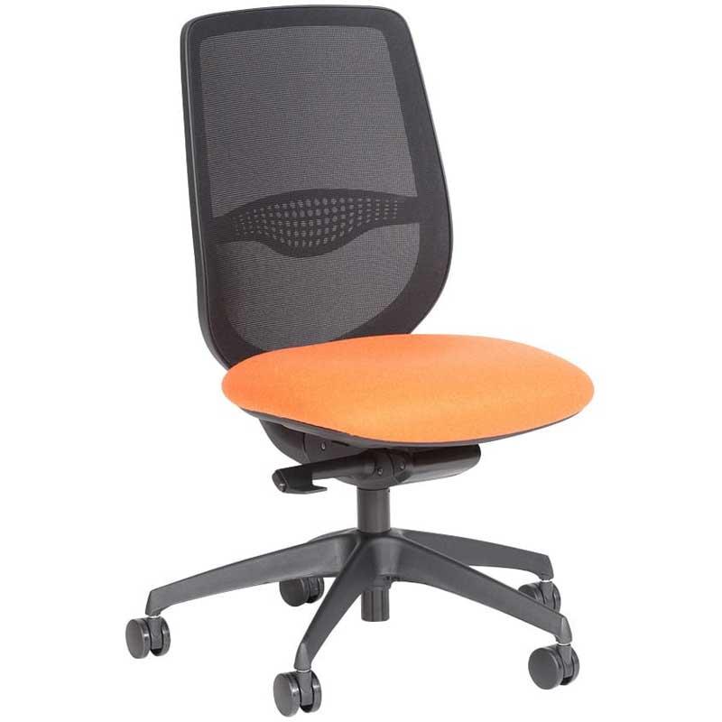 Desk chair with orange seat, black mesh back and black base