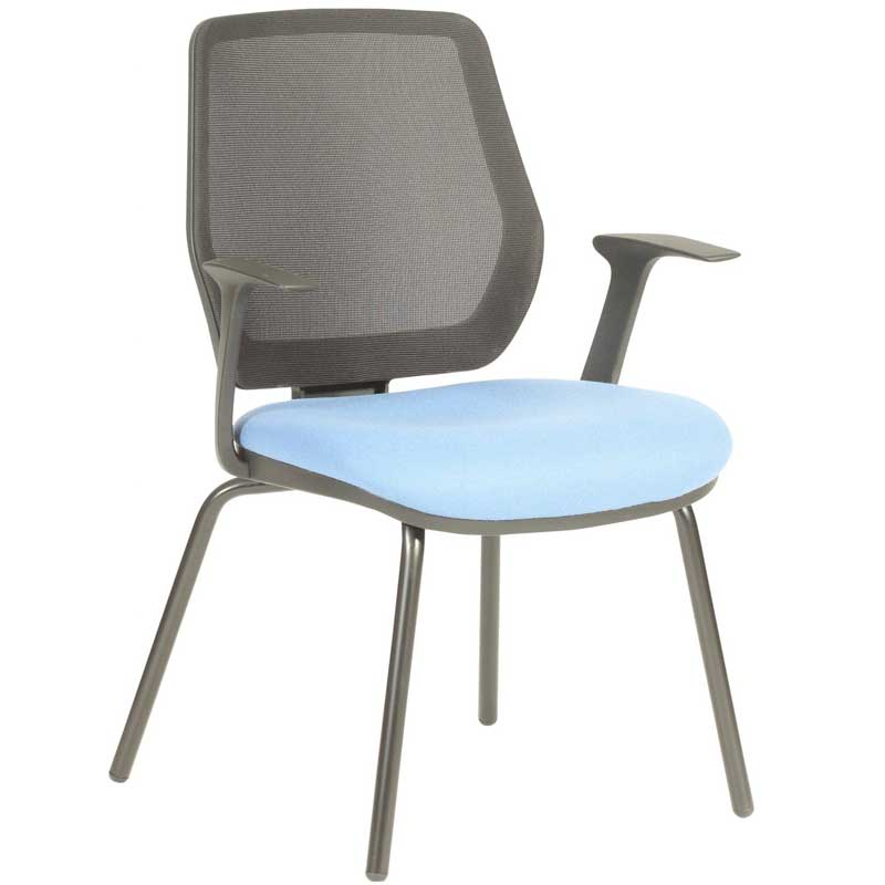 Meeting chair with pale blue seat, grey mesh back and four legs