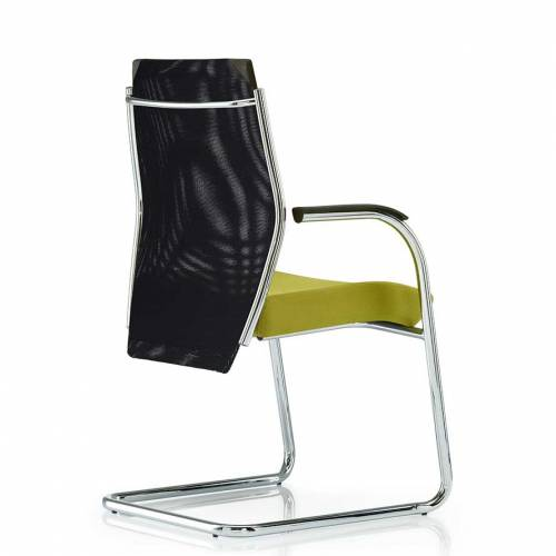 Meeting chair with lime green cushioned seat, black mesh back and chrome cantilever base