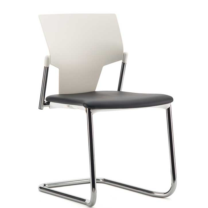 Office chair with black seat, white back and chrome cantilever base