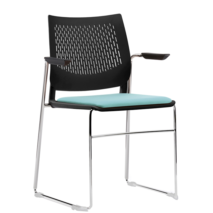 Stacking chair with blue seat, black mesh back and chrome legs