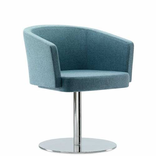 Blue-grey padded chair with chrome leg and base