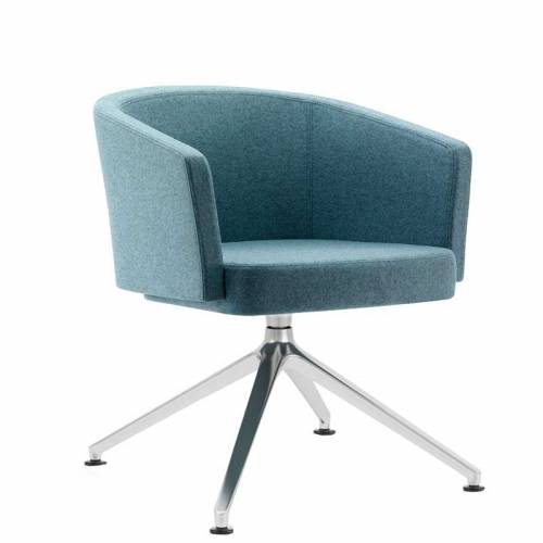 Blue-grey padded chair with chrome legs