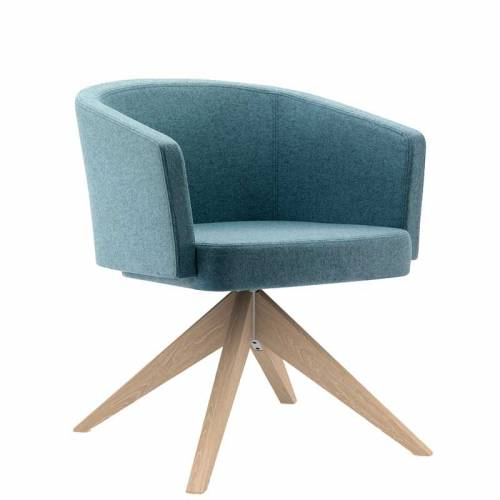Blue-grey padded chair with wooden legs