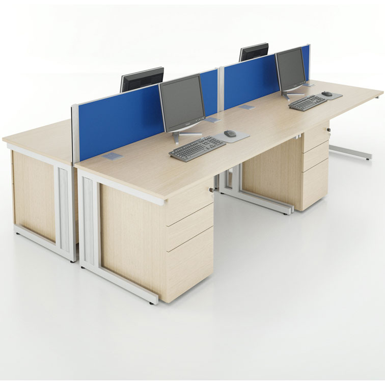 Large desking system with blue divider structure in between