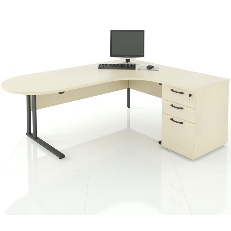 Pale corner desk with one rounded end and one squared end, with a built in filing cabinet