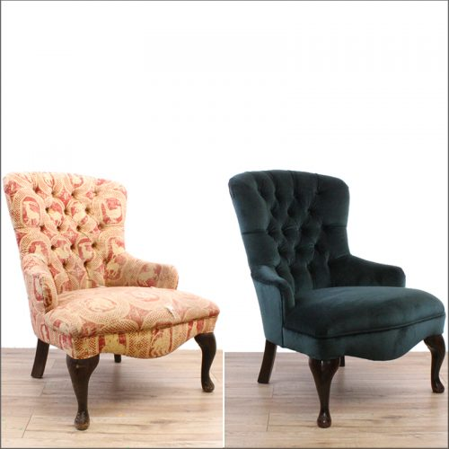 Deep buttoned chair reupholstery - before and after