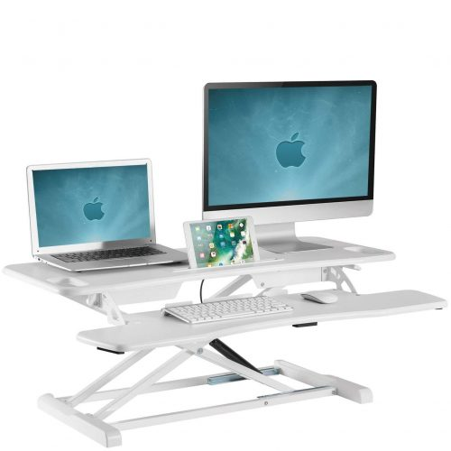 Large sit stand desk converter