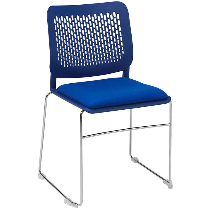 Tryo stacking chair with blue seat, blue back and chrome legs