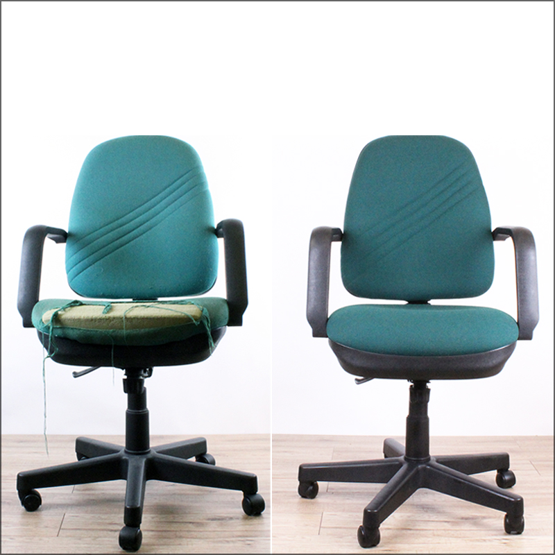 Swivel task chair before and after reupholstering