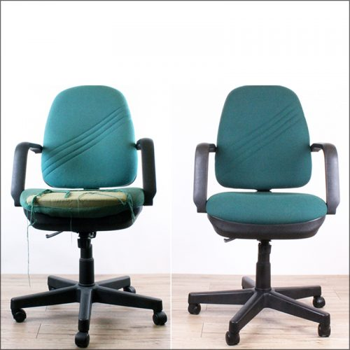 Reupholstered desk chair - before and after