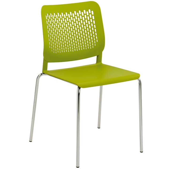 Tryo stacking chair with green seat, green back and chrome legs