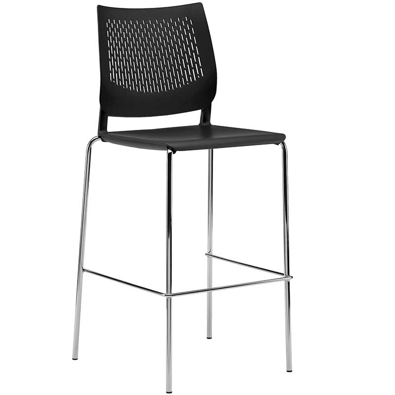 Black stool with backrest and chrome legs
