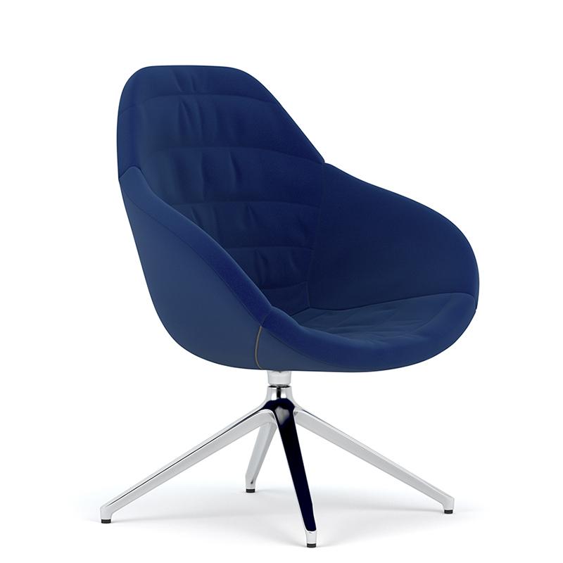 Edge design - Wave tub chair with swivel aluminium base
