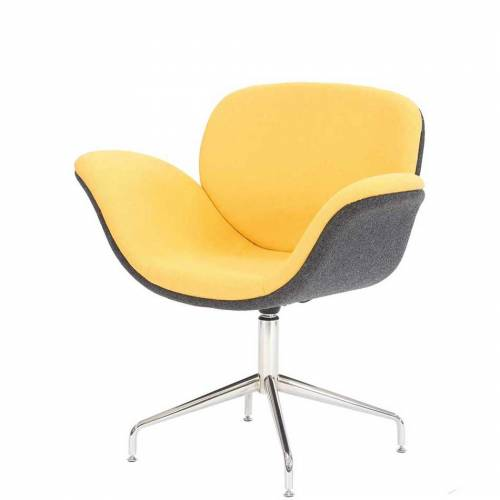 Yellow and grey chair with chrome spider base