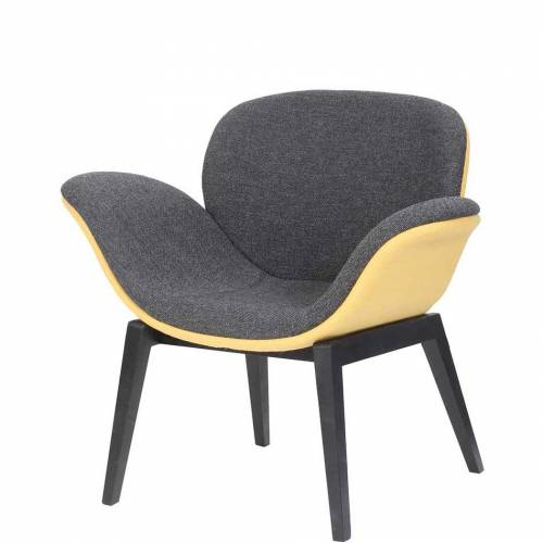 Pale yellow and dark grey chair with black legs
