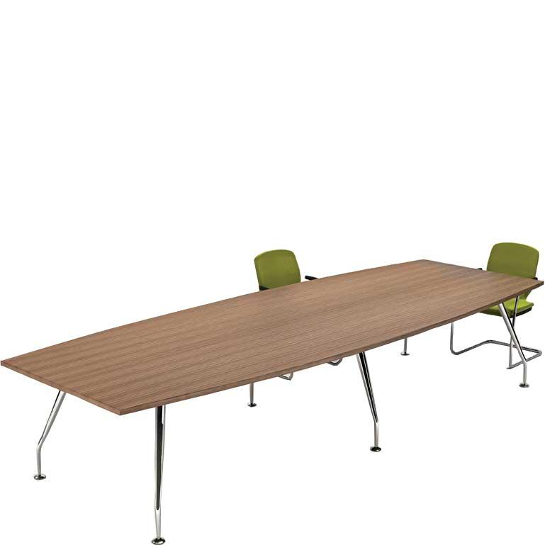 Zenith chrome barrel end boardroom table