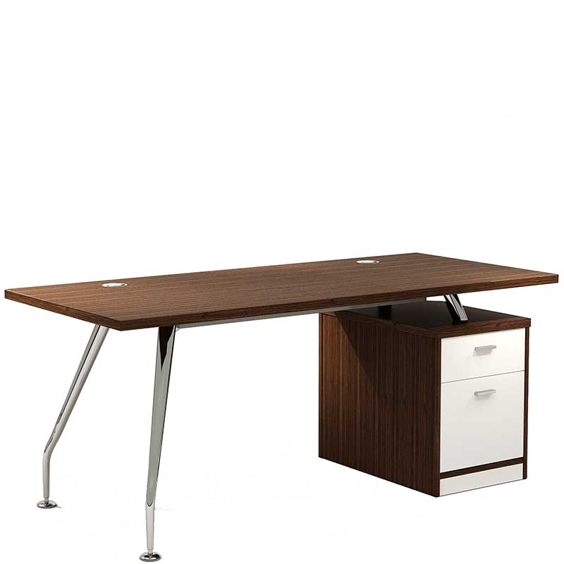 Zenith chrome executive desk with pedestal
